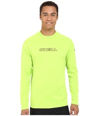 O'neill Basic Skins L S Rash Tee Lime Men's Swimwear Green
