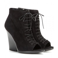 Burberry Virgina Ari Suede Open Toe Ankle Boots