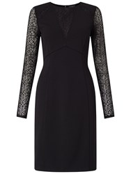 Adrianna Papell Long Sleeve Lace Detail Fitted Dress Black