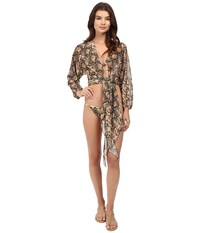 Michael Kors Snake Print Cover Up Butter Women's Swimwear Tan