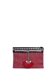 Venna 'Fan' Pearl Star Chain Embellished Boucle Clutch Multi Colour