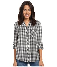 Kut From The Kloth Kayla Black White Women's Long Sleeve Button Up