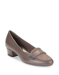 Easy Spirit Ulana Black Leather And Suede Loafers Taupe