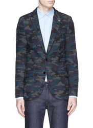 Scotch And Soda Camouflage Print Flannel Blazer Grey