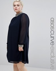 Asos Curve Swing Dress With Embellished Collar And Cuff Navy
