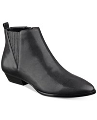 Ivanka Trump Avali Pointed Toe Booties Women's Shoes Black Leather