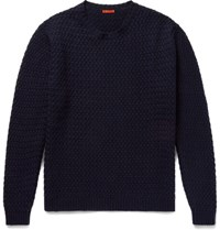 Barena Slim Fit Basketweave Wool Blend Sweater Navy