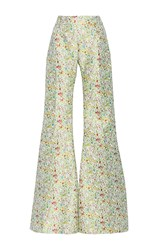 By. Bonnie Young Floral Jacquard Flare Leg Pants Green White Red