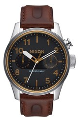 Nixon 'Safari Deluxe' Leather Strap Watch 43Mm