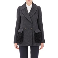 Barneys New York Fur Pocket Felt Peacoat Grey