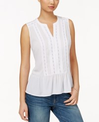 Maison Jules Sleeveless Lace Peplum Top Only At Macy's Bright White