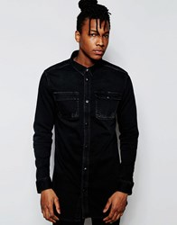 D.I.E. Workman Denim Longline Shirt In Distressed Worn Black Black Wash 2 Dist