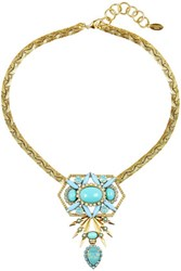 Elizabeth Cole Gold Plated Cabochon And Crystal Necklace Turquoise