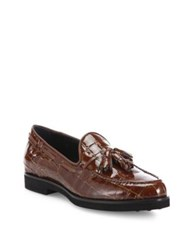 Tod's Gomma Croc Embossed Patent Leather Tassel Loafers Black Brown