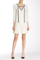 Madison Marcus Sheer Overlay Silk Dress White