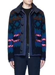 Sacai Pixel Stripe Cardigan Overlay Twill Jacket Multi Colour