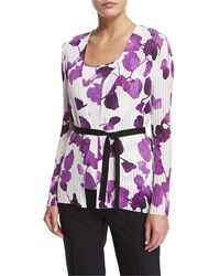 Escada Long Sleeve Orchid Print Belted Cardigan Multi Colors Women's