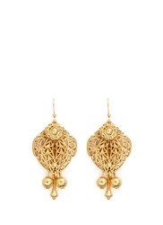 Miriam Haskell Filigree Teardrop Leaf Drop Earrings Metallic