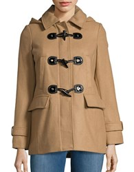 Michael Michael Kors Wool Blend Hooded Toggle Coat Camel