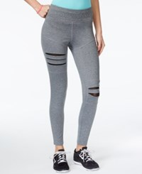 Jessica Simpson The Warm Up Juniors' Ripped Mesh Trim Active Leggings Only At Macy's Pebbled Grey