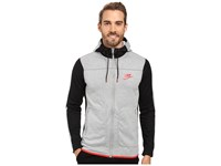 Nike Nsw Av15 Hoodie Full Zip Fleece Dark Grey Heather Black University Red Men's Clothing Gray