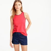J.Crew Faux Leather Scalloped Trim Tank