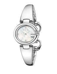 Gucci Silvertone And Diamond Accented Bangle Watch