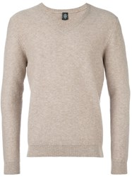 Eleventy V Neck Pullover Nude And Neutrals