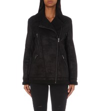 The Kooples Biker Style Faux Shearling Jacket Black