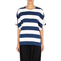 Regulation Yohji Yamamoto Women's Striped Dolman Sleeve Top Navy White Navy White