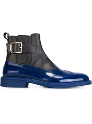 Brogue Detailing Panelled Boots Blue