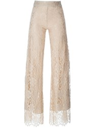 Christopher Kane Floral Lace Trousers Nude And Neutrals