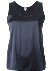 Armani Collezioni Pleated Back Tank Top Blue