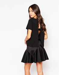 Daisy Street Tunic Top With Open Back Black
