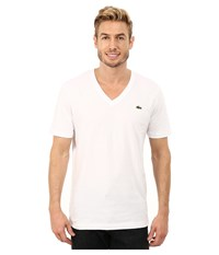 Lacoste L Ve Short Sleeve V Neck Tee Shirt White Men's Short Sleeve Pullover