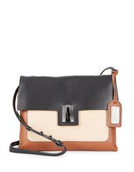 Badgley Mischka Janine Colorblocked Leather Crossbody Black Latte Cognac