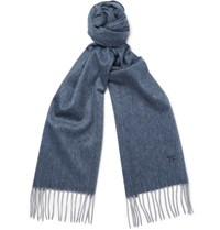 Tom Ford Herringbone Cashmere Scarf Blue
