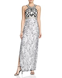 Sue Wong Sleeveless Embellished Gown Black White