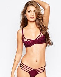 Asos Lexi Extreme Caged Half Cup Moulded Underwire Bra Red