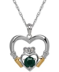 Macy's Emerald 1 2 Ct. T.W. And Diamond Accent Heart Pendant Necklace In Sterling Silver And 14K Gold