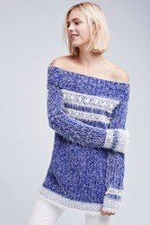 Anthropologie Faroe Off The Shoulder Sweater Dark Blue