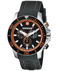 Wenger Men's Swiss Chronograph Sea Force Black Silicone Rubber Strap Watch 43Mm 0643.104