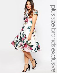 Truly You Rose Floral Print Midi Prom Multi