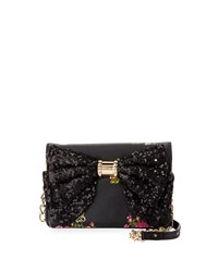 Betsey Johnson Oh Bow Sequined Wallet On Chain 50Th Flora