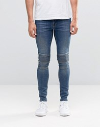 Asos Extreme Super Skinny Jeans With Panel Detail In Dark Wash Dark Blue