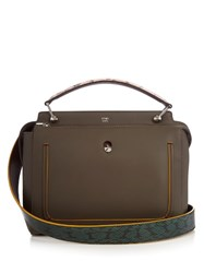 Fendi Dotcom Leather And Ayers Bag Grey Multi