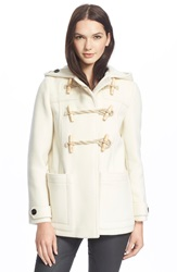 Burberry Brit 'Portstead' Hooded Duffle Coat Natural White