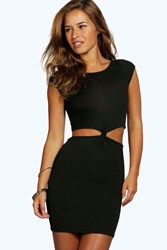 Boohoo Georgia Cut Out Side Cap Sleeve Knot Dress Black