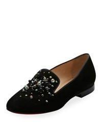 Christian Louboutin Candy Moc Jeweled Red Sole Loafer Black
