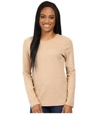 Pendleton Petite L S Jewel Neck Cotton Rib Tee Camel Heather Women's Long Sleeve Pullover Neutral